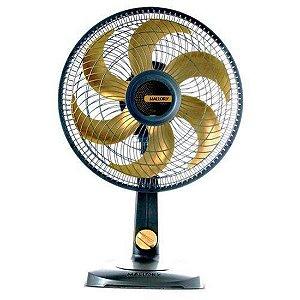 Ventilador de Mesa Mallory TS30 Gold, 30cm, 6 Pás, 3 Velocidades, Preto/Dourado, 110V