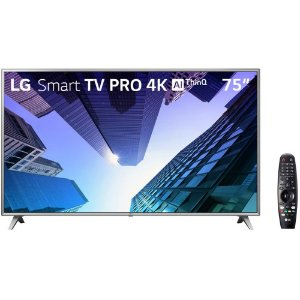 "Smart TV 75"" LG 75UM751C0SB Pro 4K AI Ultra HD Conversor Digital 4 HDMI 2 USB Wi-Fi"