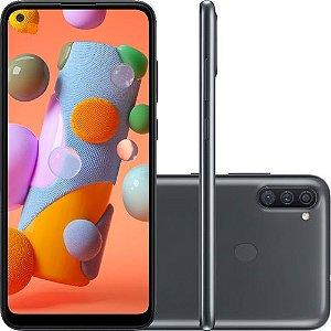 "Smartphone Samsung Galaxy A11 32GB Dual Chip Android 10 Tela 6.4"" Octa-Core 4G Câmera Tripla 13MP+5MP+2MP - Preto"