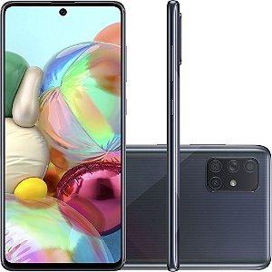 "Smartphone Samsung Galaxy A71 128GB Dual Chip Android Tela 6,7"" Octa-Core 2.2 GHz 4G Câmera Quádrupla 64MP(Principal)+12MP(Ultra Wide)+5MP(Macro)+5MP(Profundidade) Filmadora 4K - Preto"