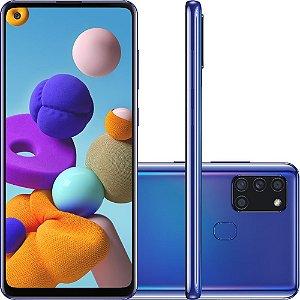 "Smartphone Samsung Galaxy A21s 64GB Dual Chip Android 10 Tela 6.5"" Octa-Core 4G Câmera Quádrupla 48MP+8MP+2MP+2MP - Azul"