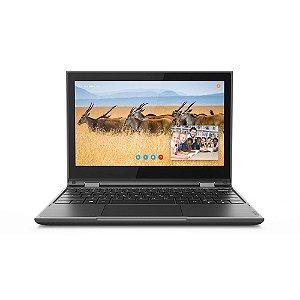 """Lenovo 300e 2ª Geração Celeron 4GB Ram 64GB SSD EMMC Win 10 Pro 11.4"""" HD 81M9003PBR Preto"""