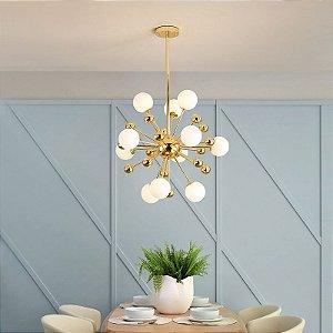 Lustre Pendente Dourado com esferas de vidro Brancas - 80cm