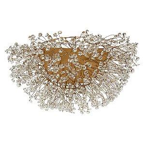 Arandela 25 ninho cristais dourada - 35x25cm
