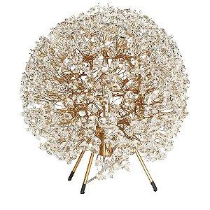 Abajur 25 ninho cristais dourado - 25cm