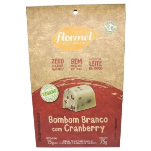 Caixa de Bombom Vegano Flormel Chocolate Branco com Cranberry 75g