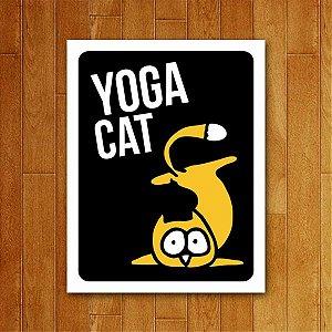 Placa Decorativa Yoga Cat - Um Sábado Qualquer