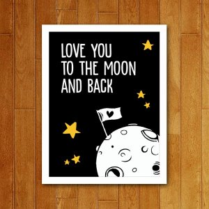 Placa Decorativa Love You To The Moon