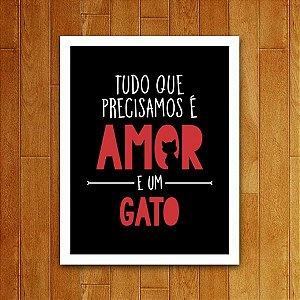 Placa Decorativa Amor E Um Gato