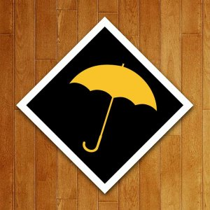 Placa Decorativa Guarda Chuva Amarelo