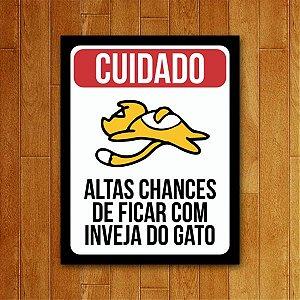 Placa Decorativa Inveja Do Gato - Um Sábado Qualquer