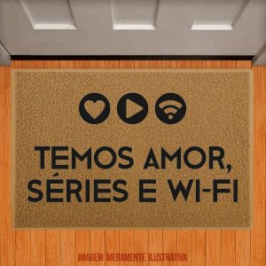 Capacho Amor, séries e wifi (bege)