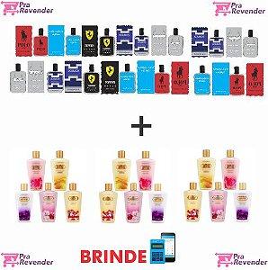 Kit PLUS 15 Perfumes 100ml + 15 Hidratantes + Brinde