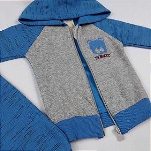 Conjunto Moletom Inverno Bebê Menino Touca Orelhinhas e Zíper Cor Azul
