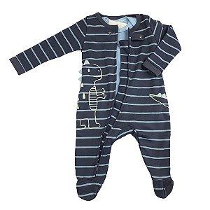 Macacão Bebê Menino Dino Tecido Suedine com Zíper Listra Azul