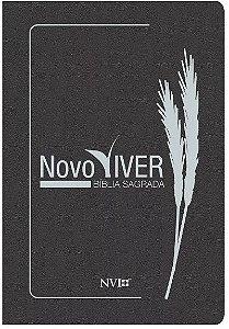 Bíblia de Estudo Novo Viver Capa Luxo Cinza Grafite