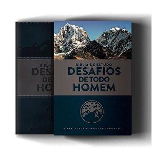 BIBLIA DE ESTUDO DESAFIOS DE TODO HOMEM AZUL E CINZA