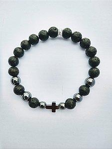 Pulseira de Pedras Naturais com cruz