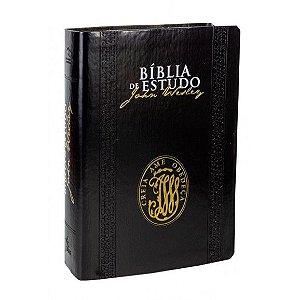 BIBLIA DE ESTUDO NAA JOHN WESTLEY LUXO PRETA