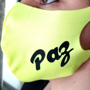 Máscara de proteção Higiênica reutilizável |Paz Verde Neon|
