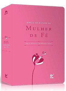 Bíblia de Estudo da Mulher de Fé NVI |Capa Luxo e Rosa|