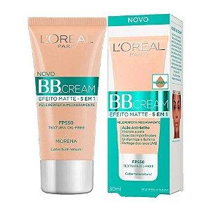 Base Facial BB Cream L'oreal Efeito Matte 5 em 1 Morena FPS50 com 30ml