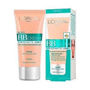 Base Facial BB Cream L'oreal Efeito Matte 5 em 1 Média FPS50 com 30ml