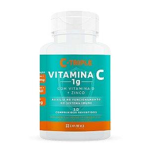 C-Triple Vitamina C 1g com Vitamina D + Zinco Divina Pharma com 30 Comprimidos