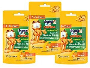 Leve 3, Pague 2 - Supra C Kids Garfield Vitamina C + Zinco + Vitamina D Sabor Laranja 30 Unidades