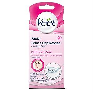 Folhas Depilatórias Facial Veet Peles Normais e Secas 12 Unidades