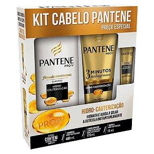 Kit Pantene Hidro-Cauterização Shampoo 400ml + Condicionador 3 Minutos Milagrosos 170ml + Ampola 15ml