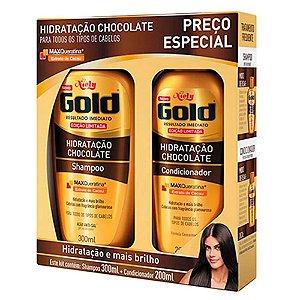 Kit Niely Gold Hidratação Chocolate Shampoo 300ml + Condicionador 200ml