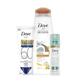 Kit Dove Shampoo Ritual de Reparação 400ml + Super Condicionador Fator de Nutrição 60 170ml + Shampoo a Seco Care On Day 2 75ml