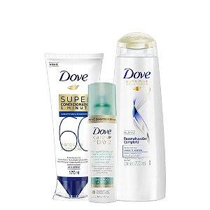 Kit Dove Shampoo Reconstrução Completa 200ml + Super Condicionador Fator de Nutrição 60 170ml + Shampoo a Seco Care On Day 2 75ml