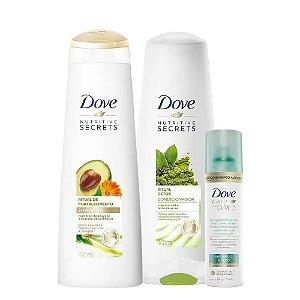 Kit Dove Ritual Shampoo Fortalecimento 400ml + Condicionador Detox 400ml + Shampoo a Seco Care On Day 2 75ml