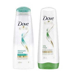Kit Dove Nutritive Solutions Shampoo Solução Micelar 400ml + Condicionador Vita Força 400ml