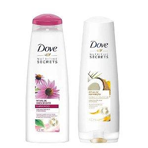 Kit Dove Ritual Shampoo Crescimento 400ml + Condicionador Reparação 400ml