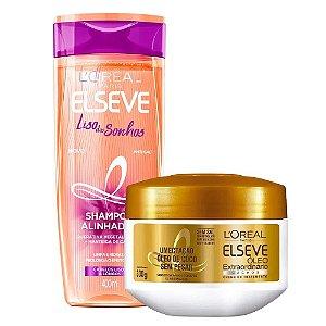 Kit Elseve Shampoo Liso Dos Sonhos 400ml + Máscara de Tratamento Óleo Extraordinário Cachos 300g
