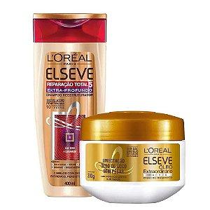 Kit Elseve Shampoo Reparação Total 5 Extra Profundo 400ml + Máscara de Tratamento Óleo Extraordinário Cachos 300g