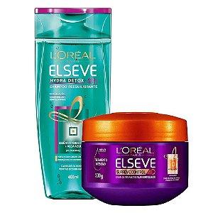 Kit Elseve Shampoo Hydra Detox 48h Antioleosidade 400ml + Creme de Tratamento Supreme Control 4D 300g
