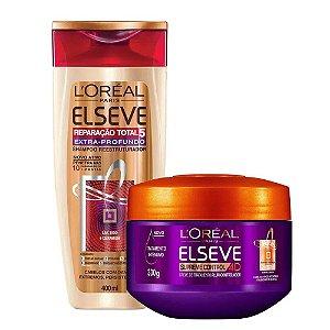 Kit Elseve Shampoo Reparação Total 5 Extra Profundo 400ml + Creme de Tratamento Supreme Control 4D 300g