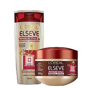 Kit Elseve Reparação Total 5 Shampoo 400ml + Creme de Tratamento Especial Química 300ml