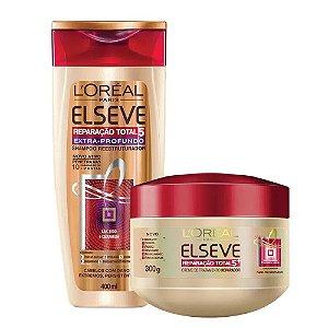 Kit Elseve Reparação Total 5 Shampoo Extra Profundo 400ml + Creme de Tratamento 300ml
