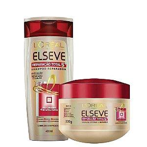 Kit Elseve Reparação Total 5 Shampoo 400ml + Creme de Tratamento 300ml