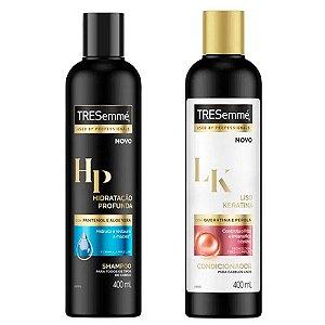 Kit Tresemmé Shampoo Hidratação Profunda 400ml + Condicionador Liso e Keratina 400ml