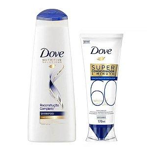 Kit Dove Shampoo Reconstrução Completa 400ml + Super Condicionador 1 Minuto Fator de Nutrição 60 170ml