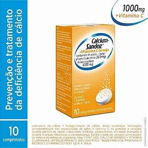 Calcium Sandoz 1000mg + Vitamina C 1000mg Sabor Laranja 10 Comprimidos