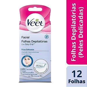 Folhas Depilatórias Facial Veet Peles Delicadas 12 Unidades