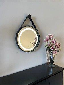 Espelho de 50cm com Alça, Iluminação Integrada e Botão Touch  - Preto