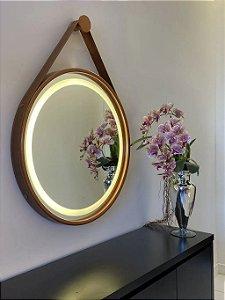 Espelho de 80cm com Alça, Iluminação Integrada e Botão Touch  - Cobre